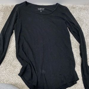 LOFT Basic Long Sleeve Black Tee